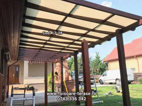 Pergola lemn cu panza protecție UV 17-28