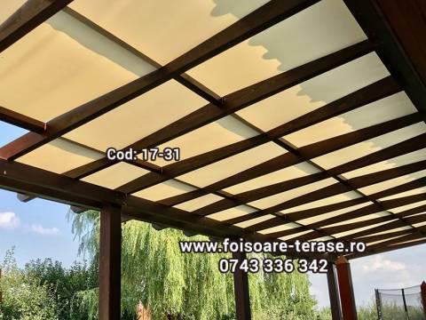 Pergola lemn cu panza și învelitoare din policarbonat compact ondulat 17-31