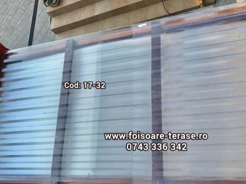 Pergola lemn cu panza și învelitoare din policarbonat compact ondulat 17-32