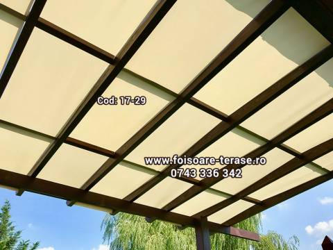 Pergola lemn cu panza protecție UV 17-29