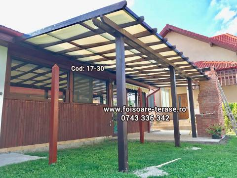 Pergola lemn cu panza protecție UV 17-30