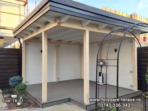 Foisor lemn cu acoperiș tavan drept pe stil scandinav 18-01