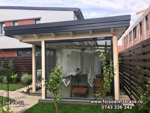Foisor lemn cu acoperiș tavan drept pe stil scandinav 18-02